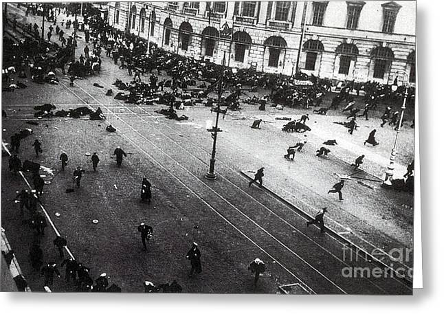 Russian Revolution Greeting Cards - July Days Bolsheviks Clash Greeting Card by Photo Researchers