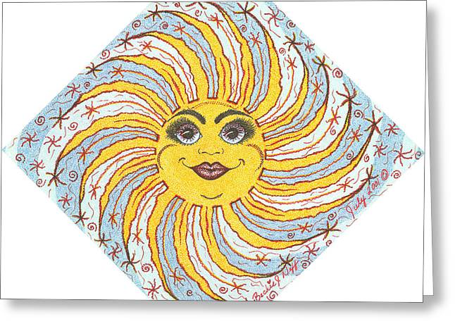 July Drawings Greeting Cards - July Firecracker Sun Greeting Card by Beckie J Neff