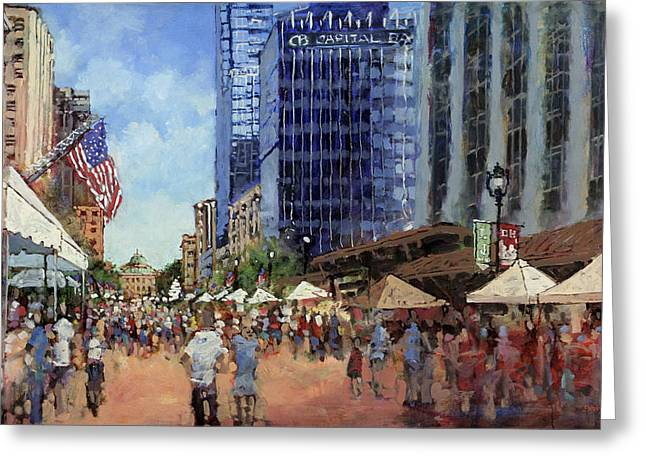 4th July Paintings Greeting Cards - July Fourth in the Capital Greeting Card by Dan Nelson