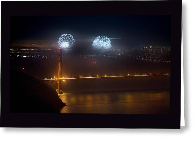 July Fourth Over The Bay Greeting Card by Daniel Furon