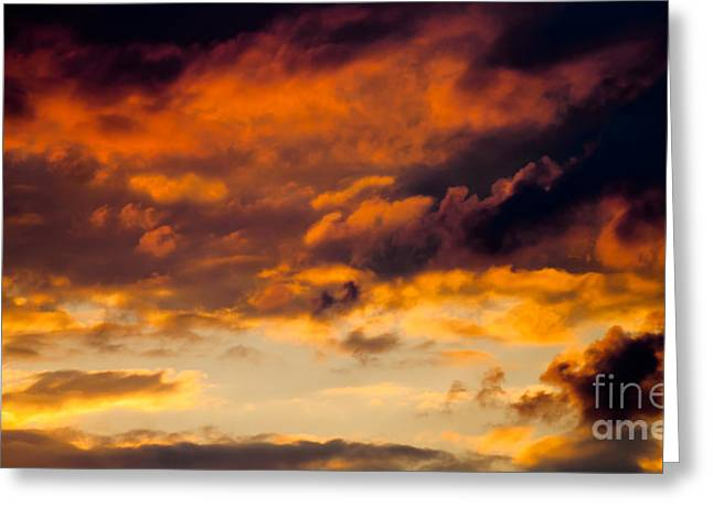 Burst Mixed Media Greeting Cards - July Sunset Greeting Card by Optical Playground By MP Ray