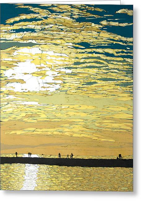Chicago Tapestries - Textiles Greeting Cards - July Sunset Greeting Card by Terri Haugen
