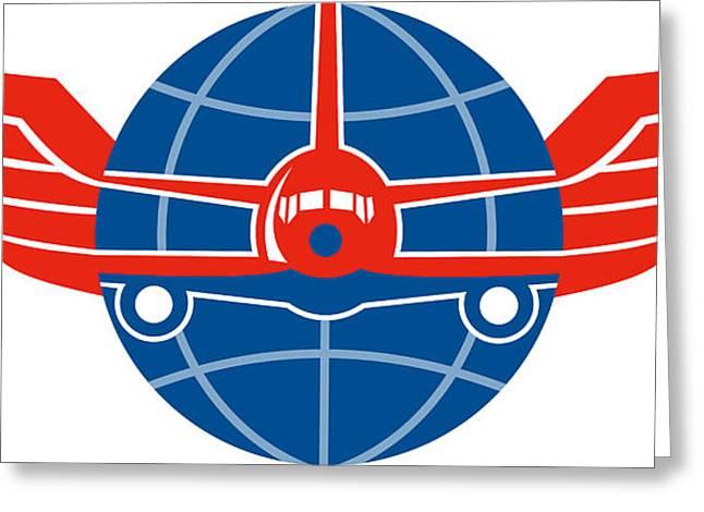 Jumbo Jet Plane Front Wings Globe Greeting Card by Aloysius Patrimonio