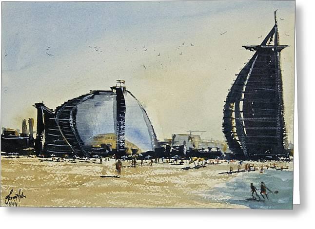 Spectacular Paintings Greeting Cards - Jumeirah Beach - Dubai Greeting Card by James Nyika