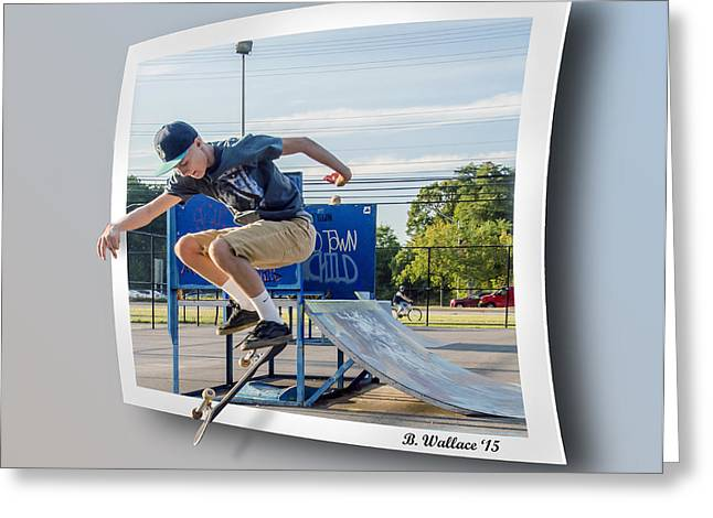 Skateboarding Digital Greeting Cards - Jump And Flip Greeting Card by Brian Wallace