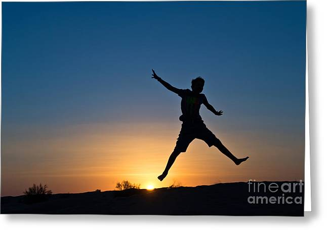 Self Confidence Greeting Cards - Jump Greeting Card by Delphimages Photo Creations