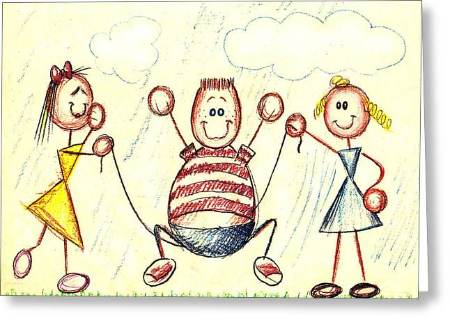 Rope Drawings Greeting Cards - Jump for Joy Greeting Card by Cristophers Dream Artistry