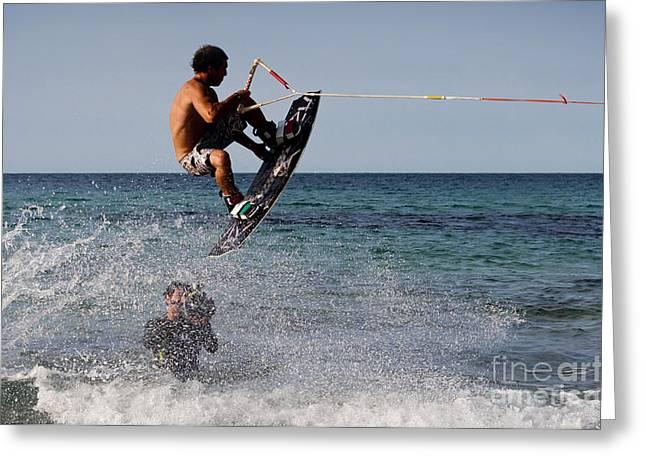 Kites Pyrography Greeting Cards - Jump Greeting Card by Francesco Zappala