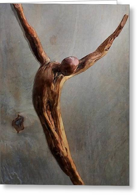 Best Sellers -  - Wooden Sculpture Greeting Cards - Jump Greeting Card by Gun Legler