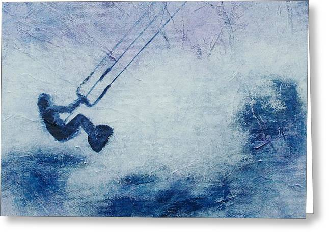Kite Surfing Greeting Cards - Jump Greeting Card by Lisbet Damgaard