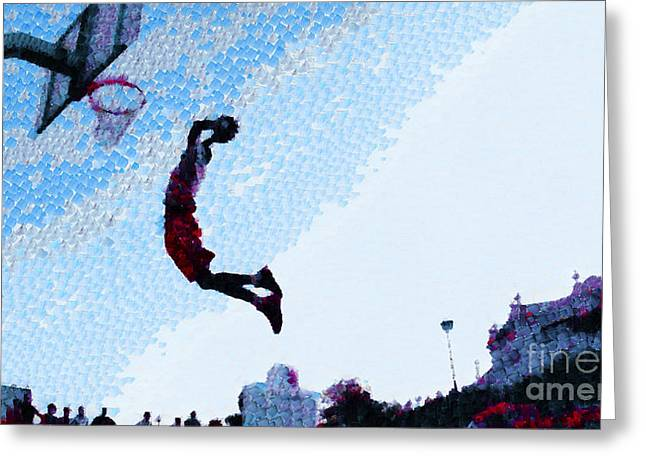 Basket Ball Game Digital Art Greeting Cards - Jump to the hoop Greeting Card by Magomed Magomedagaev