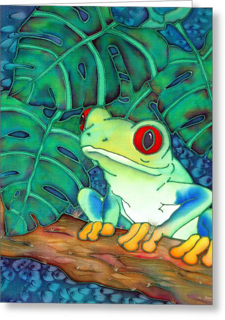 Amphibians Tapestries - Textiles Greeting Cards - Jump Greeting Card by Ursula Schroter