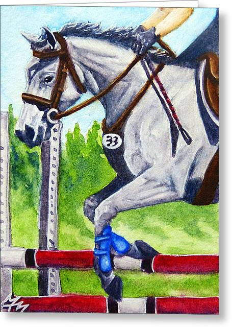 Watercolor. Equine. Bridle Greeting Cards - Jumper Round Greeting Card by Monique Morin Matson