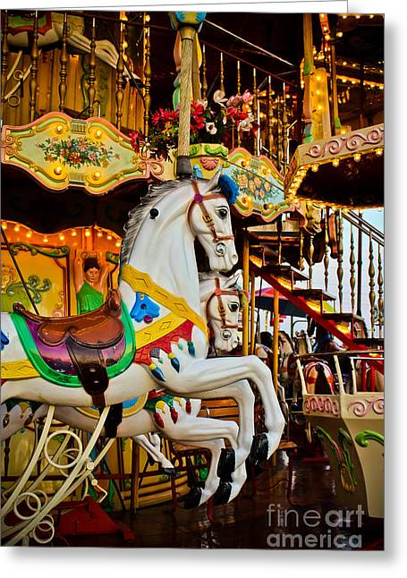 Galloper Greeting Cards - Jumpers -Carousels Greeting Card by Colleen Kammerer