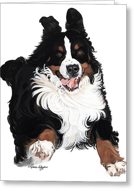 Recently Sold -  - Puppies Paintings Greeting Cards - Jumpin Jack Flash Greeting Card by Liane Weyers