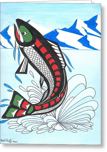 Salmon Paintings Greeting Cards - Jumping Chum Salmon Greeting Card by Bob Patterson