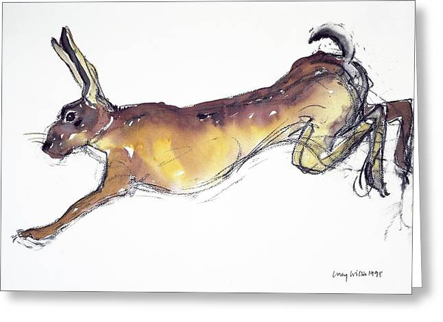 Stretched Greeting Cards - Jumping Hare Greeting Card by Lucy Willis