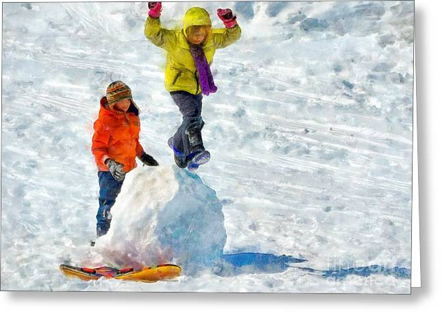 Ski Art Greeting Cards - Jumping Greeting Card by Helene Guertin