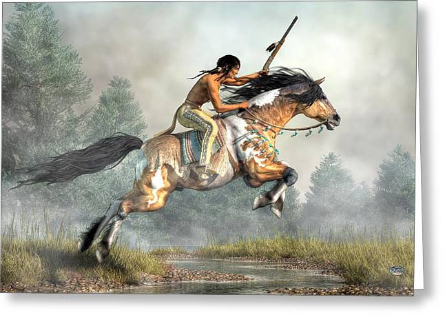 Nez Perce Greeting Cards - Jumping Horse Greeting Card by Daniel Eskridge