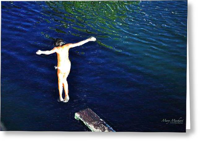 Jumping Digital Art Greeting Cards - Jumping In - Cacabelos Greeting Card by Mary Machare