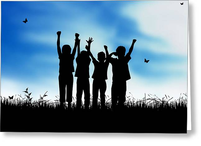 Lifestyle Greeting Cards - Jumping Kids Greeting Card by Aged Pixel
