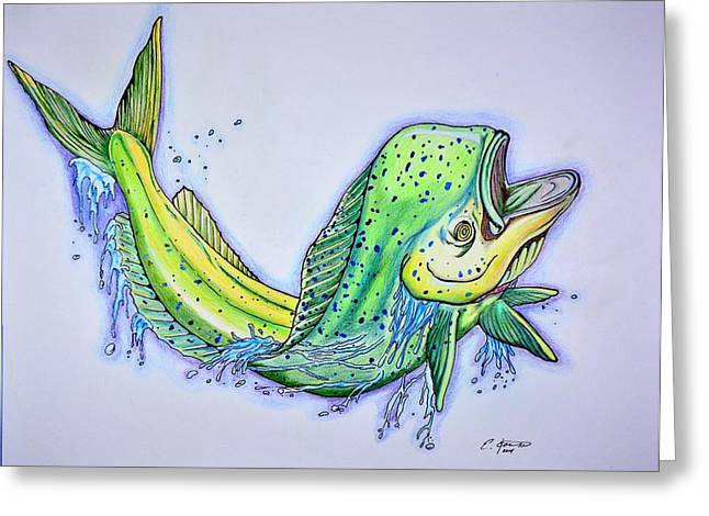 Marine Life Greeting Cards - Jumping Mahi Greeting Card by Edward Johnston