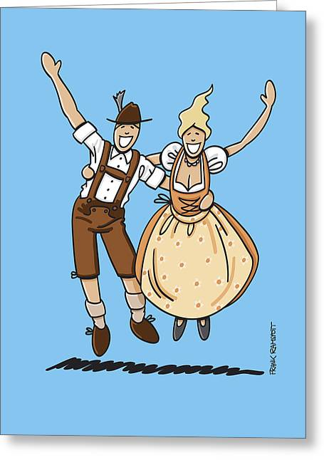 Ramspott Greeting Cards - Jumping Oktoberfest Lovers Greeting Card by Frank Ramspott