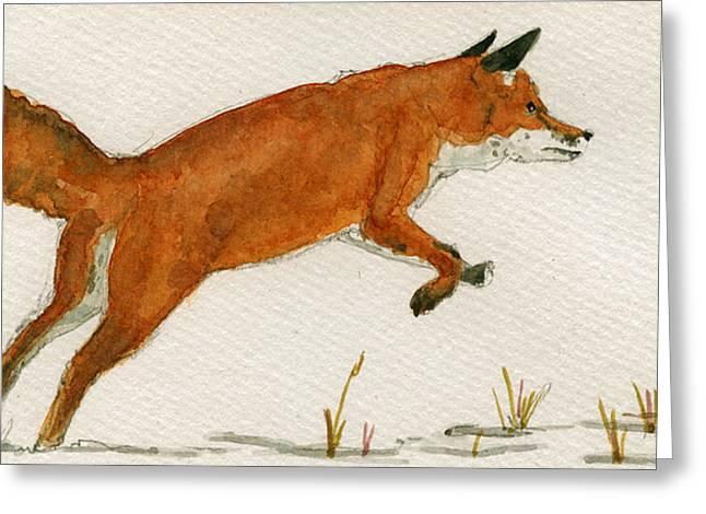 Jumping Greeting Cards - Jumping Red Fox Greeting Card by Juan  Bosco