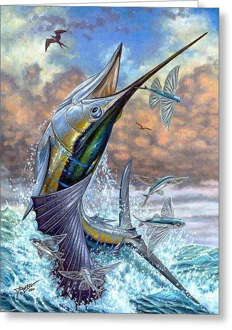 Pez Vela Paintings Greeting Cards - Jumping Sailfish And Flying Fishes Greeting Card by Terry Fox