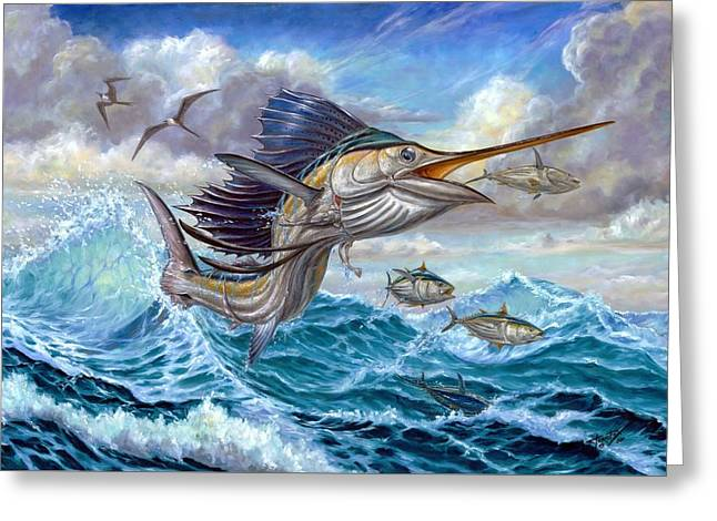 Pez Vela Paintings Greeting Cards - Jumping Sailfish And Small Fish Greeting Card by Terry Fox