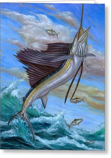 Billfish Greeting Cards - Jumping Sailfish Greeting Card by Terry Fox