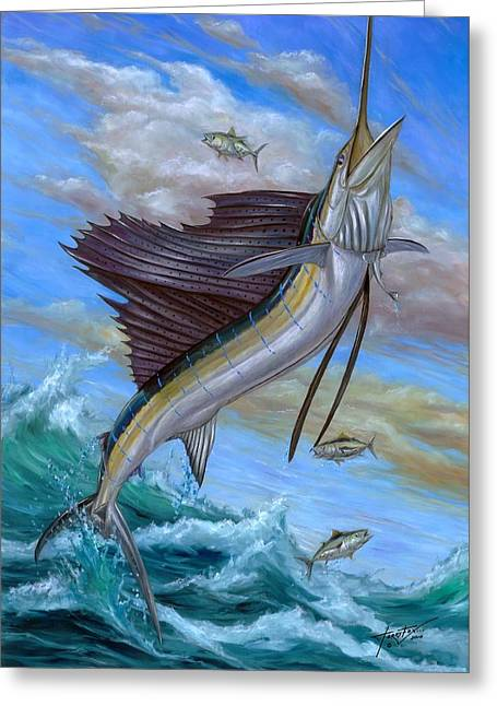 Vela Greeting Cards - Jumping Sailfish Greeting Card by Terry Fox