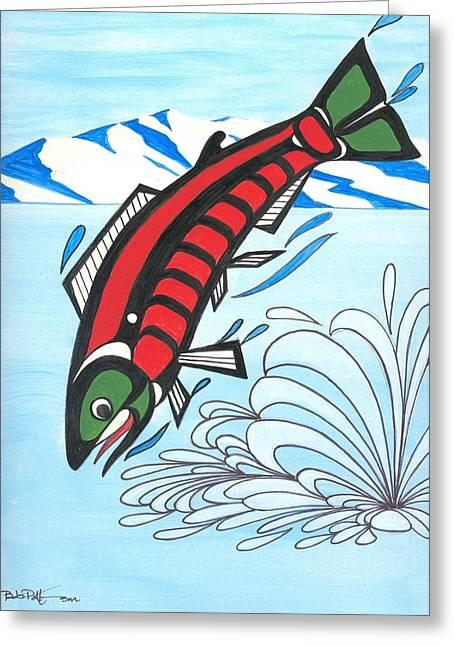 Salmon Paintings Greeting Cards - Jumping Sockeye Salmon Greeting Card by Bob Patterson