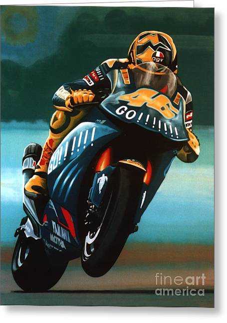 Realistic Greeting Cards - Jumping Valentino Rossi  Greeting Card by Paul  Meijering
