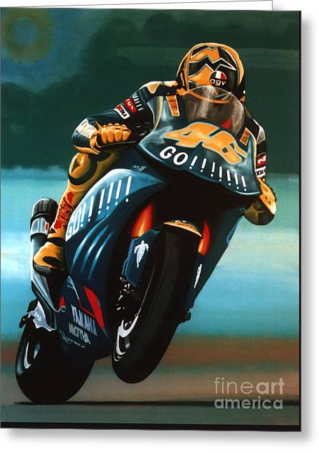 Yamaha Greeting Cards - Jumping Valentino Rossi  Greeting Card by Paul Meijering