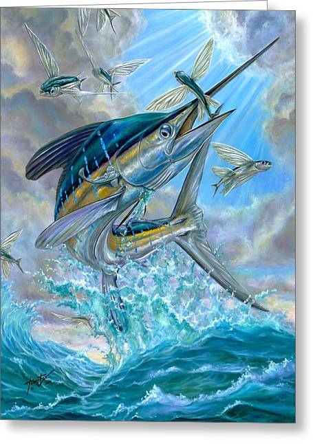 Flying Fish Greeting Cards - Jumping White Marlin And Flying Fish Greeting Card by Terry Fox