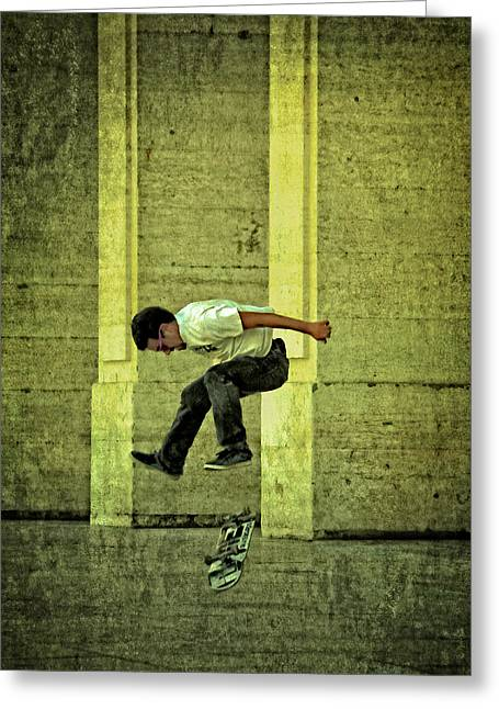 Skateboard Digital Greeting Cards - Jumps and flips Greeting Card by Mary Machare