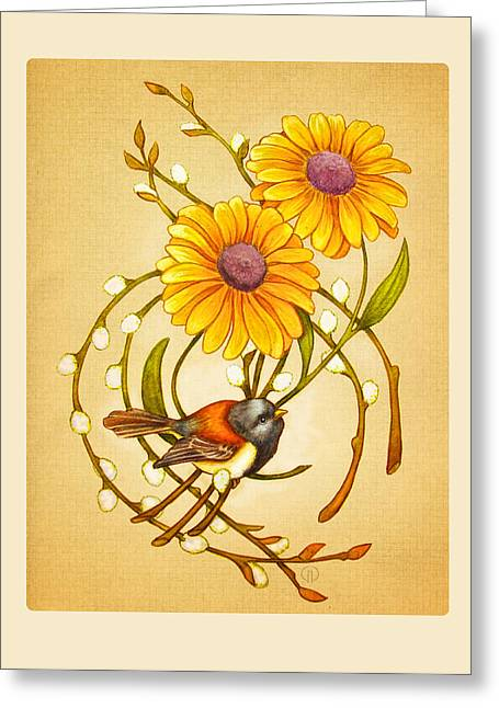 Aster Paintings Greeting Cards - Junco Song Greeting Card by Catherine Noel