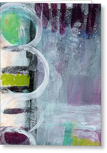 Purple Greeting Cards - Junction- Abstract Expressionist Art Greeting Card by Linda Woods