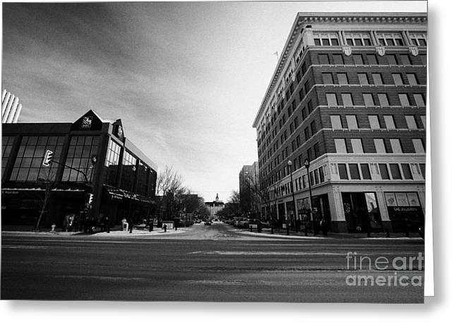 21st Greeting Cards - junction of first avenue and 21st street east at the canada bullding downtown Saskatoon Saskatchewan Greeting Card by Joe Fox