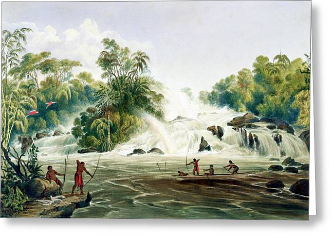 Canoe Waterfall Greeting Cards - Junction Of The Kundanama Greeting Card by Charles Bentley