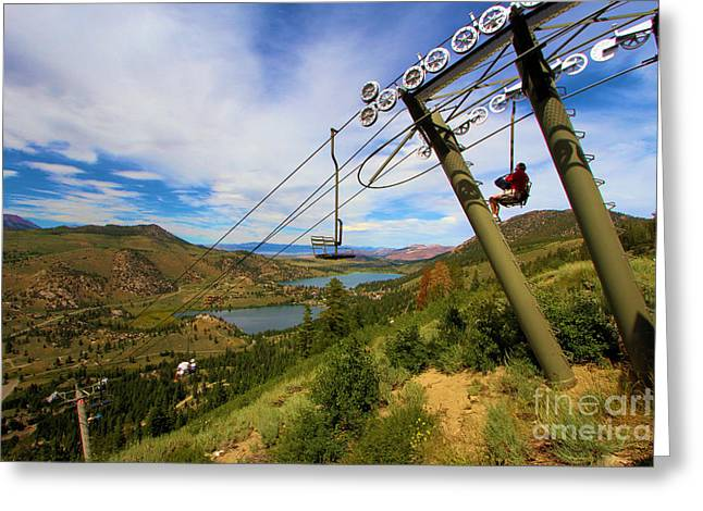 Chairlift Greeting Cards - June Mountain J1 Greeting Card by Adam Jewell