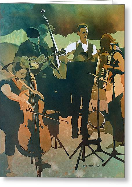 Double Bass Greeting Cards - June Tune Greeting Card by Kris Parins