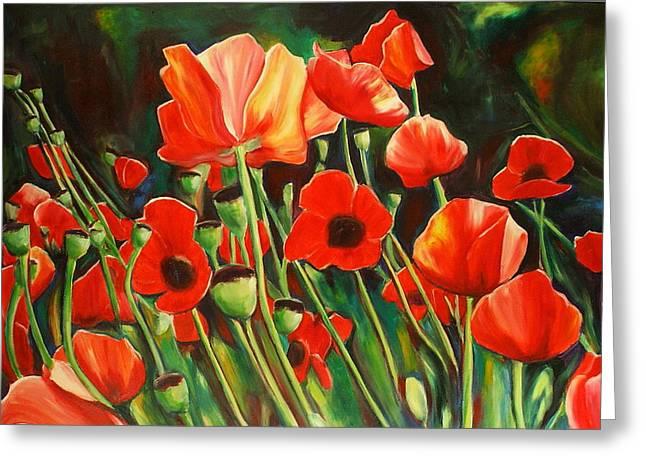 Sheila Diemert Paintings Greeting Cards - June Wearing Red Greeting Card by Sheila Diemert