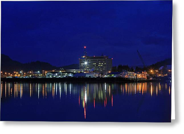 Reflection In Water Pyrography Greeting Cards - Juneau Harbor Greeting Card by Shoal Hollingsworth