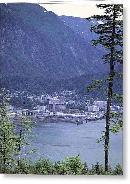 Juneau Park Greeting Cards - Juneau Skyline Douglas Island Greeting Card by Jeff Schultz