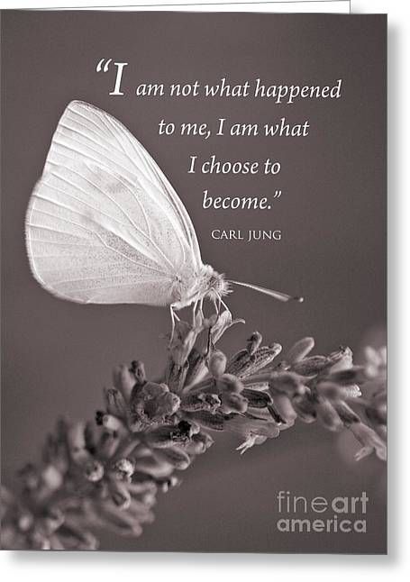 Jung Quotation And Butterfly Greeting Card by Chris Scroggins