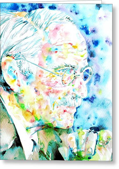 Carl Gustav Jung Greeting Cards - JUNG - watercolor portrait.1 Greeting Card by Fabrizio Cassetta