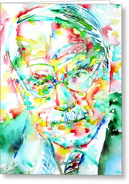 Carl Gustav Jung Greeting Cards - JUNG - watercolor portrait.2 Greeting Card by Fabrizio Cassetta