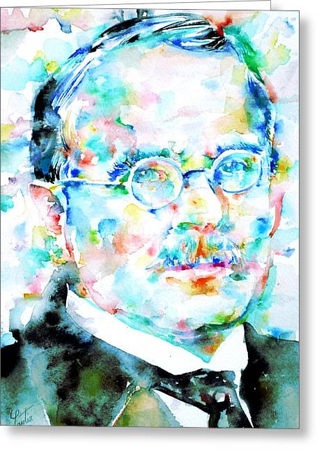Carl Gustav Jung Greeting Cards - JUNG - watercolor portrait.3 Greeting Card by Fabrizio Cassetta